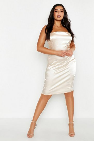 Champagne beige Plus Satin Strappy Slip Dress