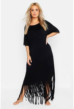 Black Plus Tassel Beach Maxi Dress