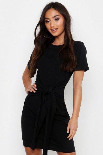 Black Petite Tie Waist T-Shirt Dress