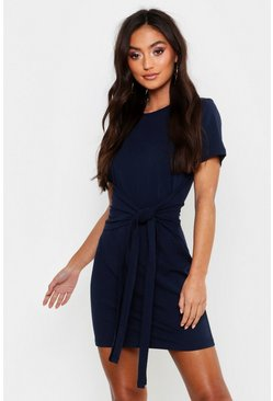Denim-blue blue Petite Tie Waist T-Shirt Dress