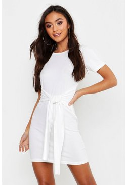 Ecru white Petite Tie Waist T-Shirt Dress