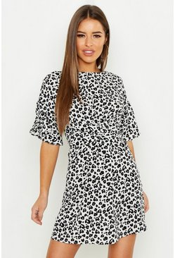 White Petite Mono Leopard Frill Sleeve Tie Shift Dress