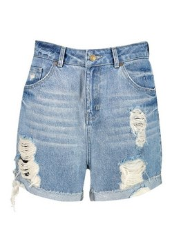 Light blue Petite High Rise Distressed Short
