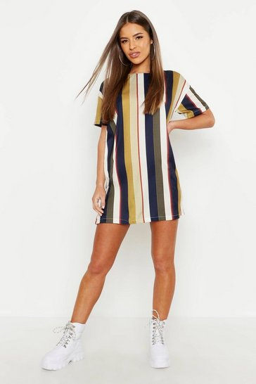 Mustard yellow Petite Tonal Short Sleeve Shift Dress