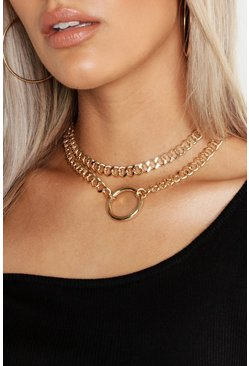 Gold metallic Plus O-Ring Detail Chain Choker