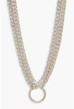 Silver Plus O-Ring Detail Chain Choker