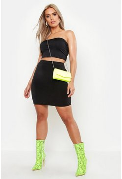 Black Plus Double Layer Slinky Neon Mini Skirt