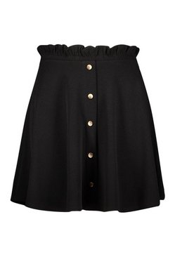 Black Plus Paper Bag Button Detail Skater Skirt