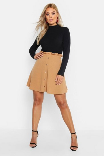 Camel beige Plus Paper Bag Button Detail Skater Skirt