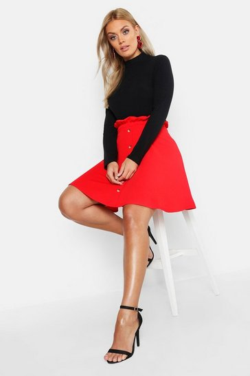 Red Plus Paper Bag Button Detail Skater Skirt