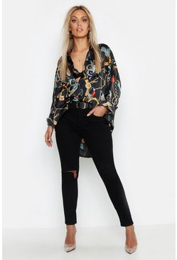 Black Plus Satin Chain Print Oversized Shirt