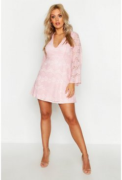 Pink Plus Lace Plunge Skater Dress