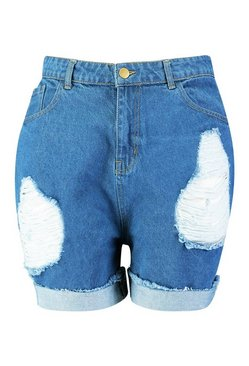 Mid wash Plus Distressed Turn Up High Waist Denim Shorts