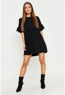 Black Petite Ribbed Frill Sleeve Smock Dress