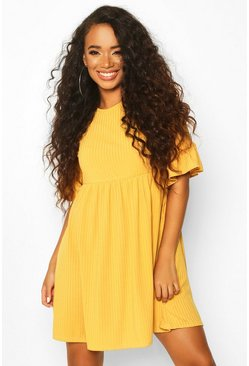 Mustard yellow Petite Ribbed Frill Sleeve Smock Dress