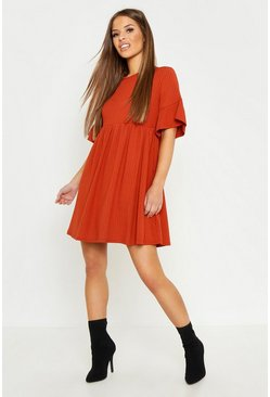 Terracotta orange Petite Ribbed Frill Sleeve Smock Dress