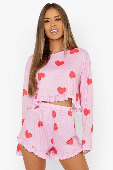 Pink Petite Heart Print Frill Hem PJ Short Set
