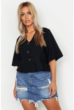 Black Plus Linen Horn Button Frill Hem Blouse