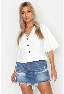 Ivory white Plus Linen Horn Button Frill Hem Blouse