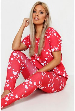 Red Plus Heart Print Lounge Set