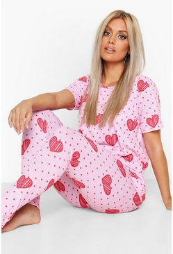 Baby pink pink Plus Heart Spot Print Lounge Set
