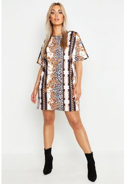 Black Plus Chain printed T-Shirt Dress