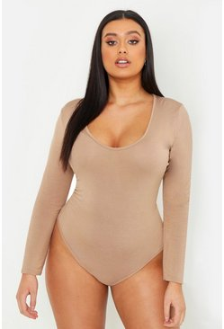 Camel beige Plus Basic Long Sleeve V Neck Body Suit