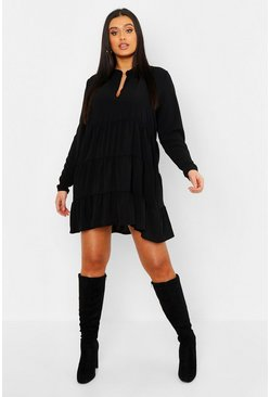 Black Plus Tiered Smock Dress