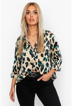 Black Plus Satin Leopard Shirt