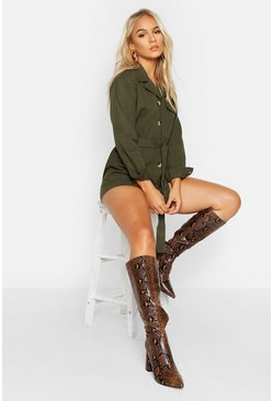 Khaki Petite Utility Button Front Belted Playsuit