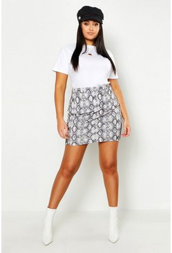 Ecru white Plus Snake Print Mini Skirt
