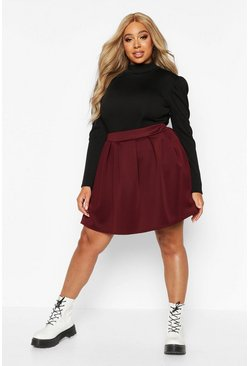 Berry red Plus Scuba Mini Skirt