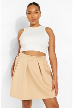 Stone beige Plus Scuba Mini Skirt