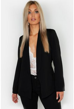 Black Plus Tie Waist Blazer