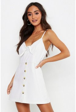 Ecru white Petite Button Knot Front Denim Dress