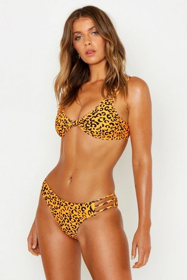 Orange Petite Leopard Strappy Knot Bikini