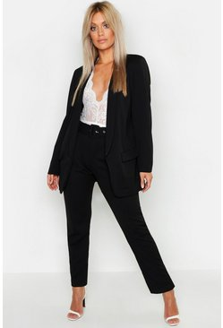 Black Plus Self Belt Dress Pants