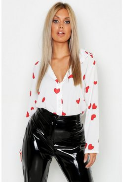 White Plus Woven Heart Print Shirt