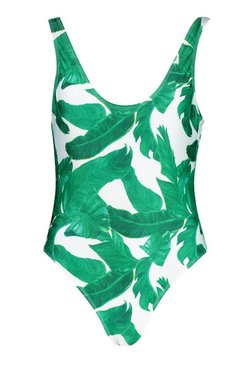 Green Petite Scoop Back Palm Print Swimsuit