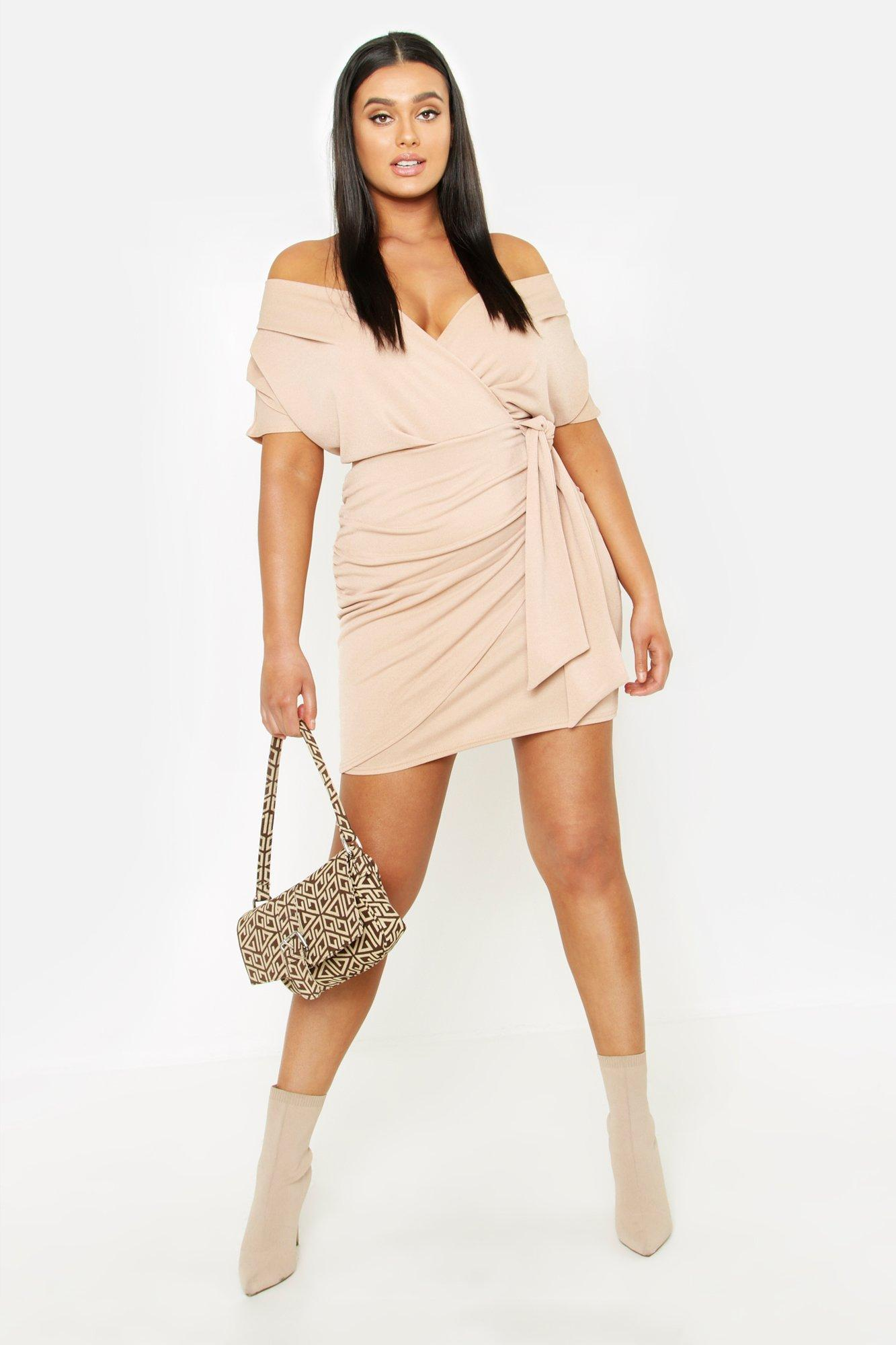 Plus Wrap Front Belted Crepe Dress 5