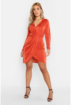 Rust orange Plus Slinky Knot Front Wrap Dress