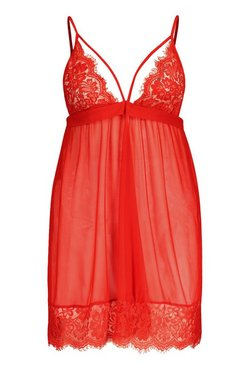 Red Plus Lace Detail Strappy Babydoll