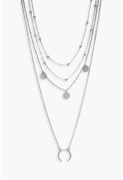Silver Plus Moon Pendant Layered Choker