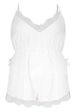 White Plus Lace Chiffon Teddy