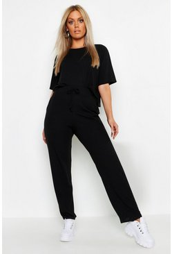 Black Plus Soft Rib Basic T-Shirt & Trouser Co-Ord