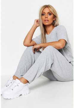 Grey Plus Soft Rib Basic T-Shirt & Pants Co-Ord