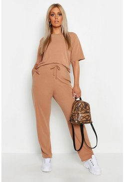 Tan brown Plus Soft Rib Basic T-Shirt & Trouser Co-Ord