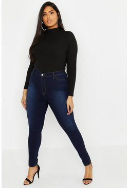 Plus Super High Waisted Power Stretch Jeans, Indigo Синий
