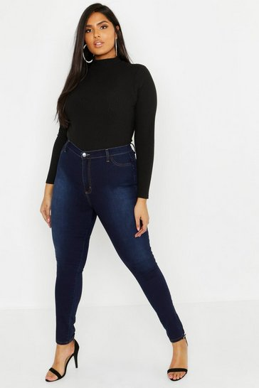 Indigo blue Plus Super High Waisted Power Stretch Jeans
