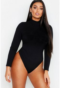Black Plus Rib Neon Roll Neck Bodysuit